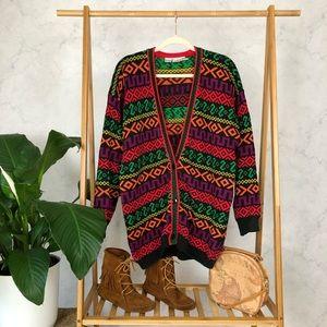 Vintage 80s/90s Oversized Rainbow Grandpa Cardigan